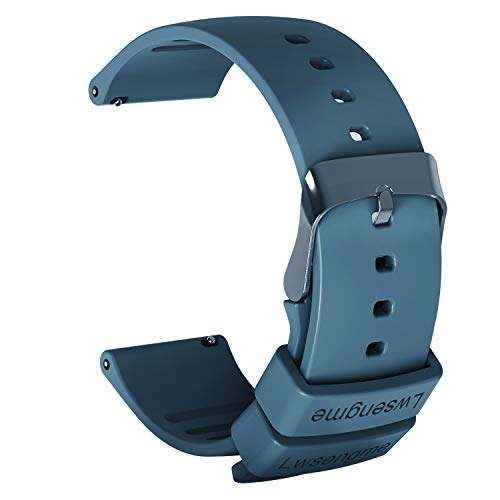 - Lwsengme Silicone Watch Replacement Band with Quick Release-Choose Color & Width (20mm,22mm) & Length-Soft Rubber Watch Strap (Navy, 22mm)