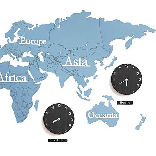 (Wooden World Map Wall Clock Kits, Creative World Map Pattern Design Quiet Non-Ticking Wooden Home Decoration Wall Clock, Large 23X54 Inch,Black)