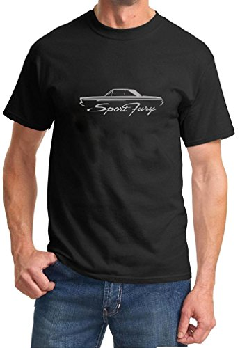 [1965-66 Plymouth Sport Fury Coupe Classic Outline Design Tshirt 3XL silver] (1965 Plymouth Sport Fury)