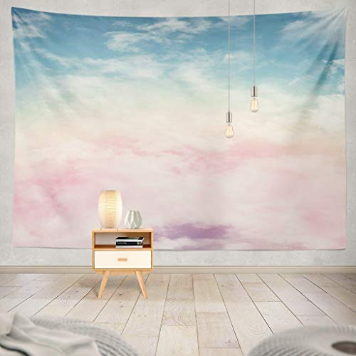 (KJONG Sun and Cloud with Pastel Cloud Candy Color Pastel Sunset Pink Abstract Cotton Fantasy Rainbow Sky Gradient ArtDecorative Tapestry,60X80 Inches Wall Hanging Tapestry for Bedroom Living Room)