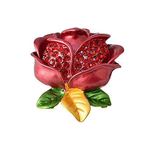 (Hosaire Women's Fashion Flower Brooch Pin with Rhinestone Beautiful Red Rose Broochpin)