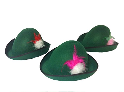 Alpine Hats Black Trim Full Head Size Assorted Colored Fluffy Feathers for Women