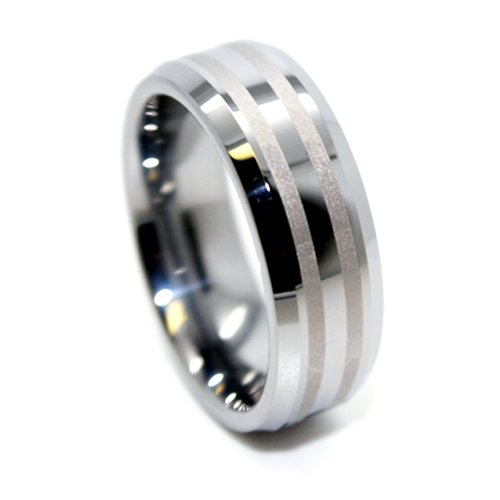 8mm Tungsten Carbide Two Brushed Satin Lines Wedding Ring (Available in Sizes 4-17)