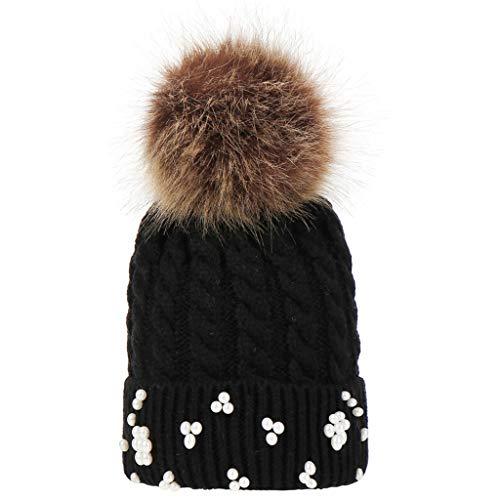 Kirbaez Children Baggy Warm Crochet Winter Wool Knit Ski Beanie Skull Hair Ball Hat Earmuffs Slouchy Caps Hat