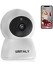 SMTALY C1 Camara IP WiFi, 1080P Camaras de Vigilancia Inalámbrico Interior 9 Leds IR Visión, Detección de Movimiento, Audio Bidireccional, Alarma Email, Compatible con iOS, Android, PC, Blanco