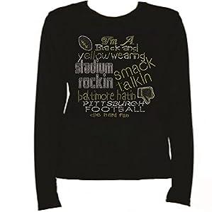 Rhinestone Pittsburgh Football Pride T Shirt LR IPPT by Jeannies Rhinestone World