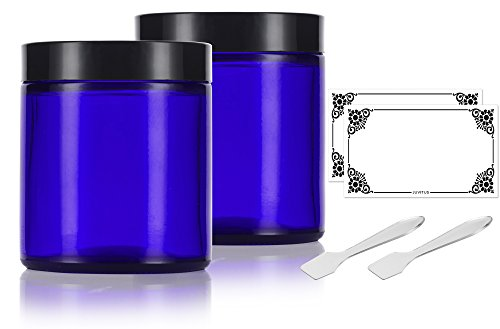 Cobalt Blue Glass Straight Sided Jars - 4 oz / 120​​ ml (​2 pack) + Spatulas and Labels - Airtight, Smell Proof, BPA Free Lids