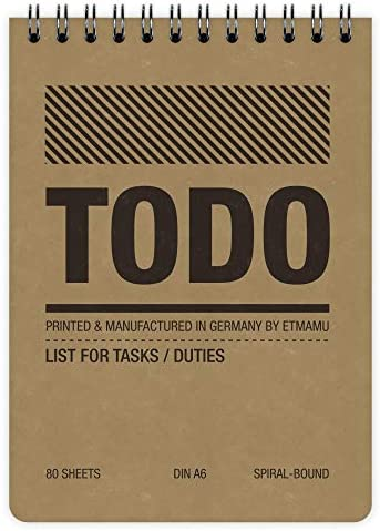 2x etmamu 455 To-Do-Liste A6, 60 Blatt, 3-spaltig, Aufgabenliste für Erledigungen und Zeit-Management