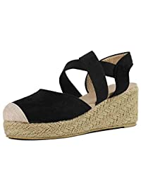 DATEWORK Fashion Women Elastic Band Wedges Sandals Platform Round Toe Shoe Heeled Sandals