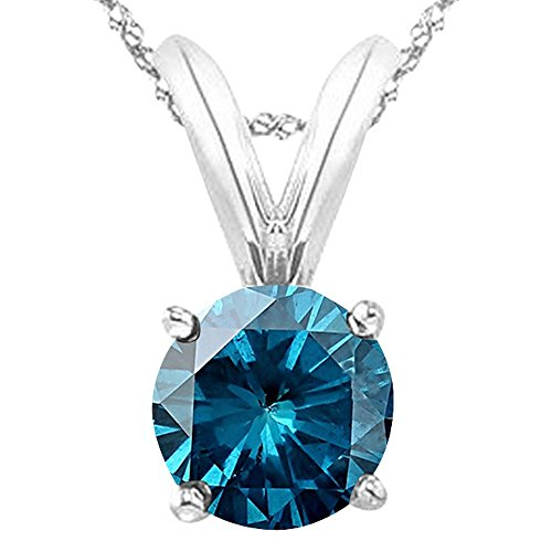 1/2 0.5 Carat Platinum Round Blue Diamond 4 Prong Solitaire Pendant Necklace (AAA Quality) W/ 16