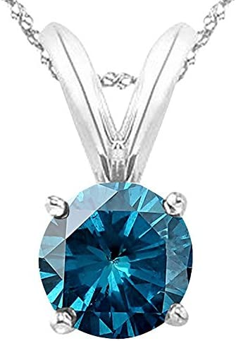 1/2-5 Carat Round Blue Diamond 4 Prong Pendant Necklace (AAA Quality) W/ 16″ Gold Chain