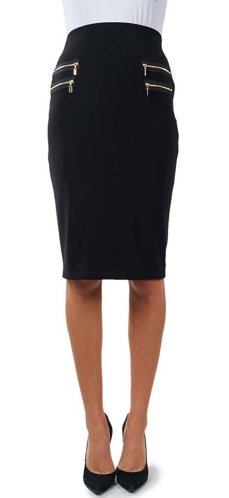 Joseph Ribkoff Black Knee Length Skirt + Decorational Zippers Style 172080 - Size 6