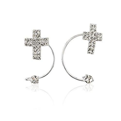 925 Sterling Silver Crystal Glass Cross No Pierce Ear Cuff Wrap Earrings, Set of Two (2) 9, 21 - Cross Crystal Cuff