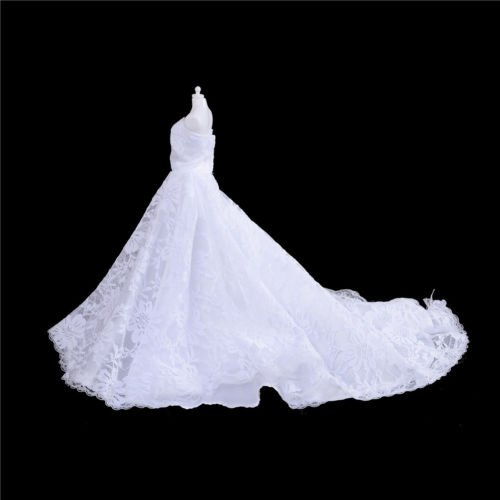 KuierShop(TM) Handmade White Doll Wedding Dress With Veil For Barbie 1/6 Doll Clothes Gown LY