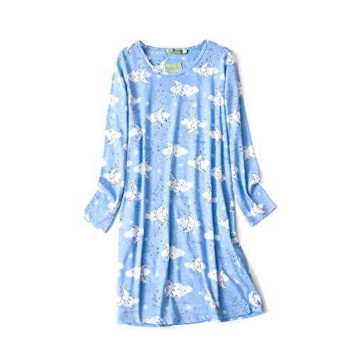 Clouds Print Cotton Nightgown - ENJOYNIGHT Women's Cotton Sleepwear Long Sleeves Nightgown Print Tee Sleep Dress (X-Large, Moon)