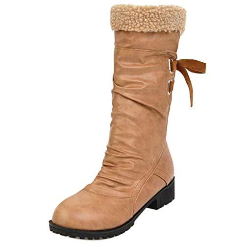 Calf Mid Toe Apricot Boots Round AicciAizzi Women qBFOII