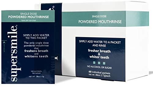Supersmile Powdered Mouth Rinse – Clinically Proven to Freshen Breath and Whiten Teeth – Convenient TSA Approved On-the-Go Oral Mouthwash Packets – No Sugar or Alcohol
