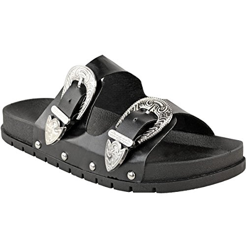 Fashion Thirsty Ladies Womens Studded Buckle Slip On Mules Summer Sliders Sandals Shoes Size Black Faux Leather / Silver Buckle