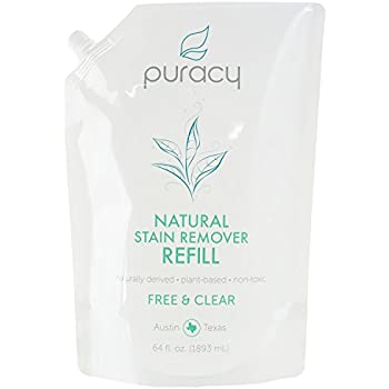 Puracy Natural Laundry Stain Remover Refill, Enzyme Odor Eliminator, Free & Clear, 64 Ounce