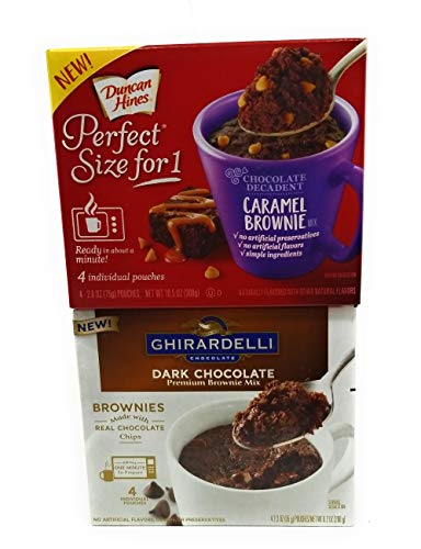 Chocoholics Brownie Mix in a Cup Duo Bundle, Ghirardelli Dark Chocolate and Duncan Hines Carmel Chocolate, 1 box of each
