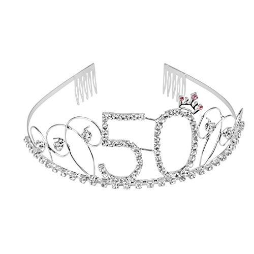 Kicosy 50th Birthday Tiara Crystal Rhinestone Birthday Crown Happy 50th Birthday for Women]()