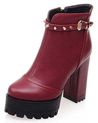 Idifu Mujeres Sexy Studded High Block Heels Plataforma Botines Cortos Con Cremallera Lateral Rojo