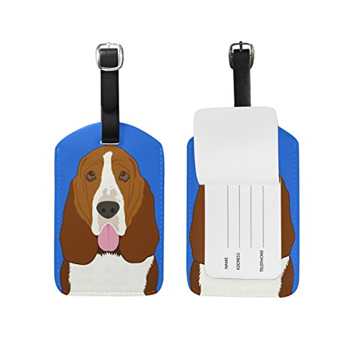 My Daily Basset Hound Dog Luggage Tag PU Leather Bag Tag Travel Suitcases ID Identifier Baggage Label 1 Piece (Tag Luggage Hound Basset)