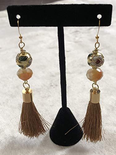 Gold Cloisonne Flower Tassel Earrings