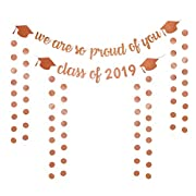 6Pack Glitter Grad Banners Rose Gold Graduation Banner Class of 2019 and We are so Proud of you for Grad Party Decorations