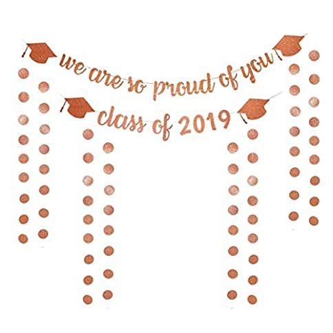 - 41C1ZvGekxL - 6Pack Glitter Grad Banners Rose Gold Graduation Banner Class of 2019 and We are so Proud of you for Grad Party Decorations