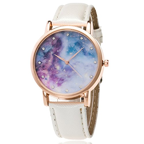 Loweryeah Male and Female Pu Leather Quartz Watch Personality Star Compact Dial (White 1) by Loweryeah (Image #1)