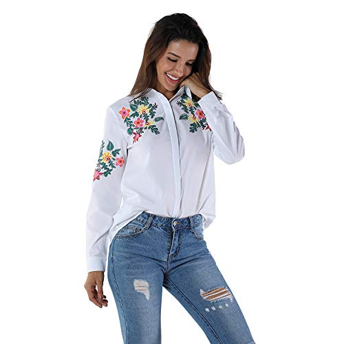 OMONSIM Women Ladies Embroidered Long Sleeve Shirt Striped Turn-Down Collar Blouse Tops (White, Medium)