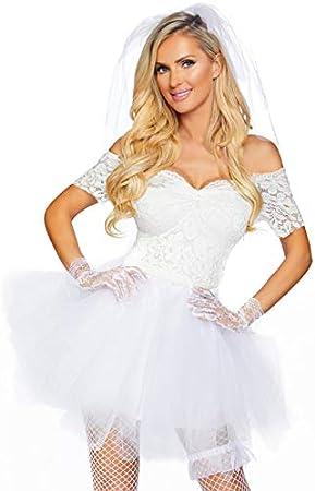 Magic Box Disfraz de Novia Blanca Fiesta de gallina para Mujer M/L ...