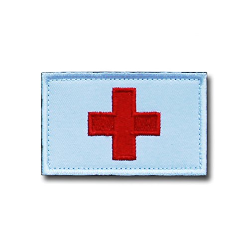 Feisuo Medic Armband U.S. Patch Embroidery Tactical Morale Patch Medic Armband magic sticker (White) ()