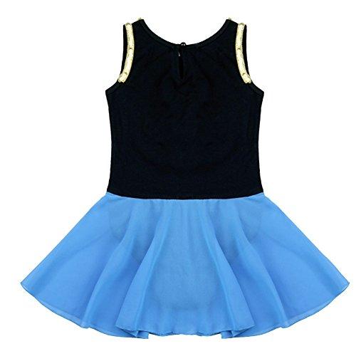 Freebily Kids Girls Princess Snow Queen Costume Embroidery Ballet Tutus Dancewear Black&Blue 8 by Freebily (Image #3)