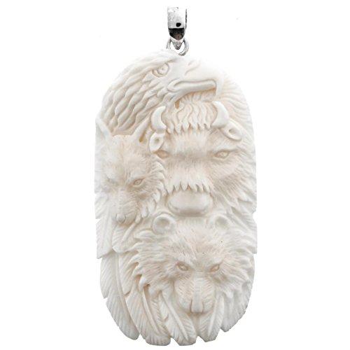 Hand Carving Totem Eagle Wolf Bison Bone 925 Sterling Silver Pendant , 3