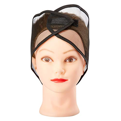 Juvale 12-Pack Black Breathable Mesh Head Wrap Cap with Velcro Closure (Net Wrap Hair)