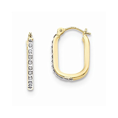 Mia Diamonds 14k Yellow Gold (.01cttw) Diamond Fascination U-Shaped Hoop Earrings (19mm x 11mm) ()