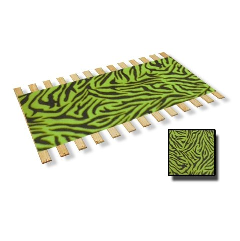 Full Size Custom Bed Slats With Neon Green Zebra Print Faux Fur Fabric - Help Support Your Box Spring and Mattress
