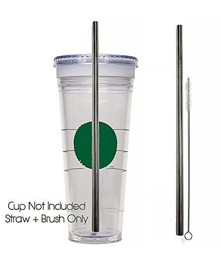 Venti Replacement Straw + Cleaning Brush For To-Go Cup - Stainless Steel + Cleaner VENTI Frappuccino Blended Cold Tumbler Reusable ()