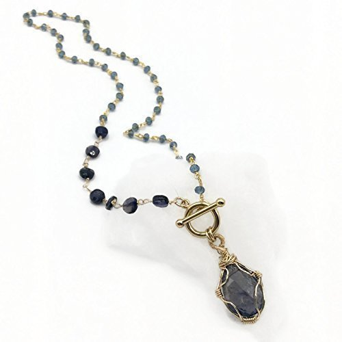 Cut Iolite Pendant (Purple Gemstone Pendant Necklace | Iolite Gold Filled Jewelry On Sale | Valentines Gifts | 18 Inch)