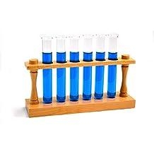 Laboratory Test Tube Starter Set - Premium Wooden Test Tube Rack (22mm Holes) and 6 Borosilicate Glass Test Tubes with Rims (20x150mm/35mL cap.)