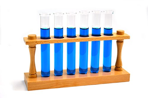 Laboratory Test Tube Starter Set - Premium Wooden Test Tube Rack (22mm Holes) and 6 Borosilicate Glass Test Tubes with Rims (20x150mm/35mL cap.)