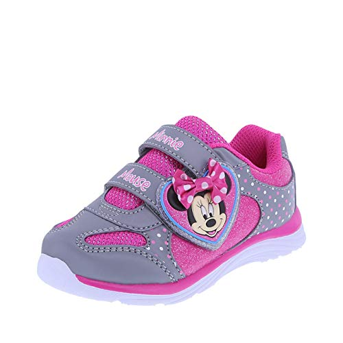 Minnie Mouse Bowtique Girls' Grey Pink Girls' Minnie Heart Runner 11.5 Regular