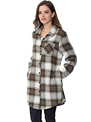 FURAMI Women's Long Sleeve Plaid Button Shirt Dress Casual Outwear with Pockets