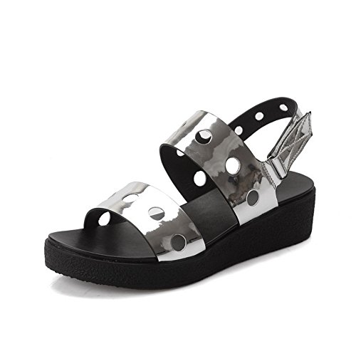 AgooLar Mujeres Mini Tacón Sólido Velcro Puntera Abierta Sandalia Plateado