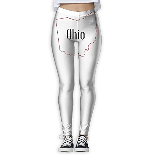 YJkuzi19 Outline Map Of The State Of Ohio Women's Power Flex Yoga Leggings Workout Running (Ohio State Buckeyes Mesh Pant)
