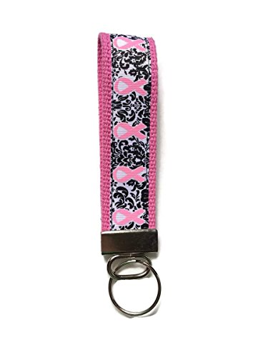 Pink Ribbon Key Ring (Tickled Pink Boutique Women's Breast Cancer Awareness Ribbon Damask Wristlet Keychain Pink)