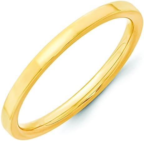 14K Yellow Gold 2mm Standard Flat Pipe Cut Comfort Fit Wedding Band