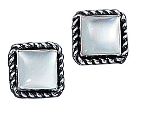Sterling Silver Square Roped Edge Mother Of Pearl Post Stud Earring